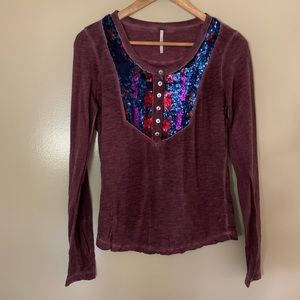 Free People Washed Wine Red Sequins Shirt Small